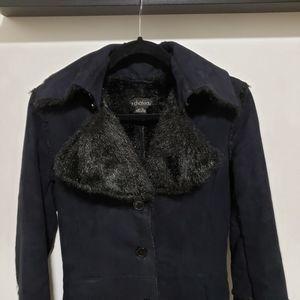 Vintage Le Château Faux Fur Black & Navy Maxi Coat